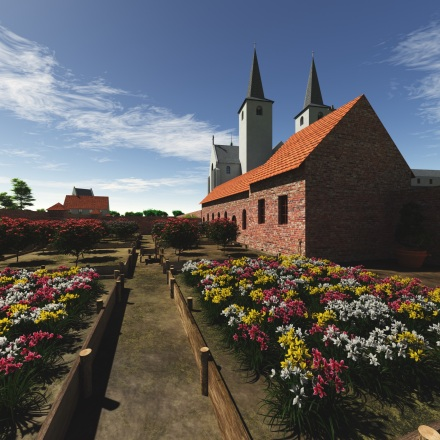 Ename abbey gardens in 1665
